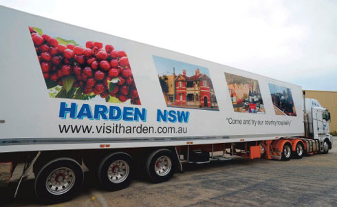 Madden's Truck with Harden advertising