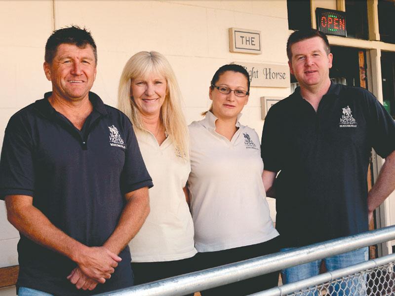 Light Horse Hotel staff: Bob Manwaring (owner), Debbie Astill, Angela Leitner and Jason Bradshaw.
