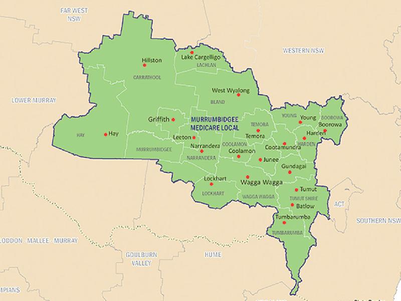 Map of Murrumbidgee Medicare Local