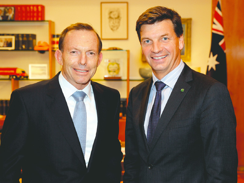 Prime Minister Tony Abbott with Federal Member Angus Taylor