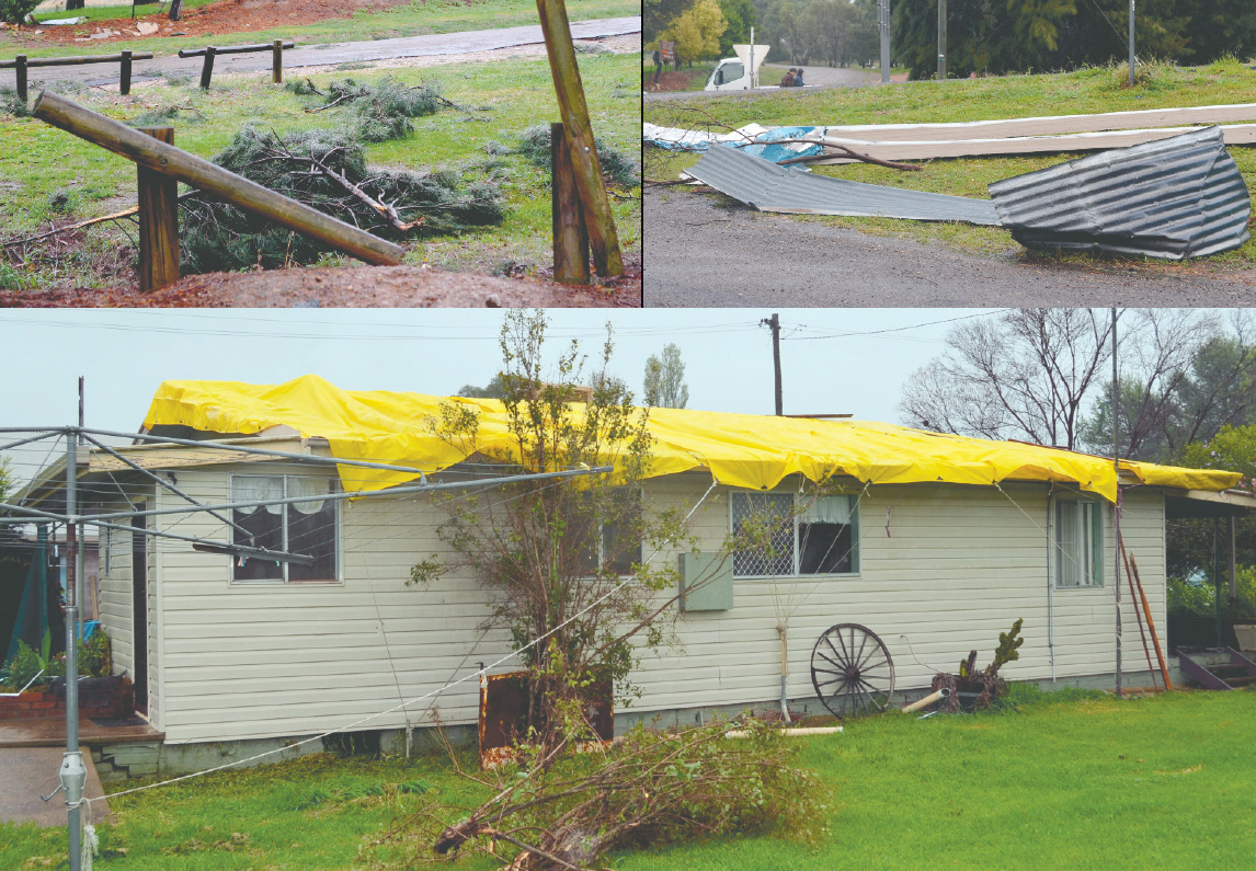 """Damage as a result of Wombat's """"mini tornado"""""""