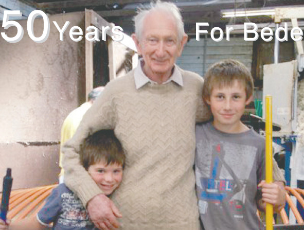 Bede in 2012 with two of his grandsons