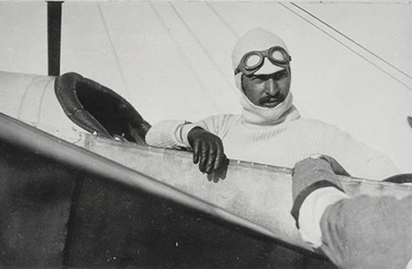Maurice Guillaux in his Bleriot XI monoplane, 1914